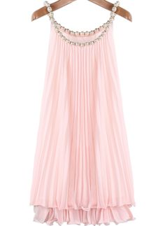 To find out about the Pink Bead Pleated Chiffon A Line Dress at SHEIN, part of our latest Dresses ready to shop online today! Frock Fashion, Pink Fashion, Fashion Dresses, Cheap Fashion, Cheap Dresses, Short Dresses, Women's Dresses, Rosa Style, Frill Tops