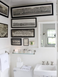 Really neat way to decorate a bathroom. I love how it takes away from the norm of how a bathroom is decorated. It makes it feel more like a room with a theme, rather than a bathroom.