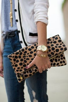 Casual Chic. Love the gold jewelry and cheetah inspired clutch
