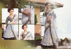 This elegant white and black net saree is coupled with a gold detailed black velvet border. The saree is detailed with resham embroidery, Kasab, stone and patch Black Net Saree, Western Suits, Floral Patches, Suit Shop, Lehenga Choli, Sarees, Silk Brocade, New Years Sales, Blouse Online