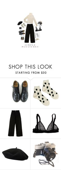 """""""simple pleasures"""" by herebemaddy ❤ liked on Polyvore featuring Dr. Martens, Hansel from Basel, Summa, North, Goorin and Polaroid"""