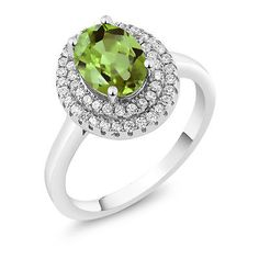 2.53 Ct Oval Green Peridot 925 Sterling Silver Ring