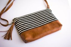 Faux Leather Bag Minimalist Bag Small Crossbody Purse Hipster Bag Striped Purse Black and White Diy Bags Purses, Purses And Handbags, Cheap Handbags, Handbags Online, Luxury Handbags, Celine Handbags, Black Leather Bags, Leather Purses, Leather Bag Pattern