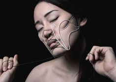 Face corset..tied, Sterling silver, Elastic string = By Lalitsuda Settaapithan, MA, Jewellery Design Silversmithing and related products, Birmingham City University, UK