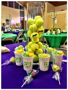 Captivating Tennis Themed Centerpieces