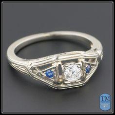 Art Deco Diamond & Sapphire Engagement Ring, 18k Gold Filigree Ring from trademark on Ruby Lane