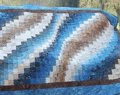Blue and Brown Bargello Quilt