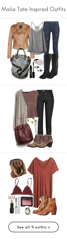 """""""Malia Tate Inspired Outfits"""" by lili-c ❤ liked on Polyvore featuring Karl Lagerfeld, RVCA, Free People, Forever 21, Mullein & Sparrow, Lord & Berry, Banana Republic, Versace, Organic by John Patrick and Lucky"""