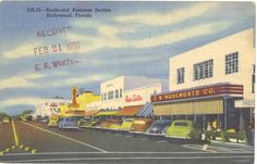 Vintage Florida Postcard  Hollywood  Boulevard by savannahsmiles4u, $3.00