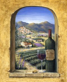 Wine Art when transferred into stone creates the feeling of being right in Tuscany. We can even personalize your wine art tile mural. Lavender Paint, Wine Painting, Painting Canvas, Acrylic Paintings, Wall Canvas, Canvas Art, Wine Art, Tile Murals, Poster Prints