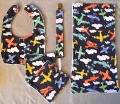 flannel & terry cloth gift set - airplanes #etsy #babyset