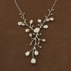 Sterling Silver Pearl & Cubic Zirconia Branch Necklace $325.00 #downton #gatsby #1920s