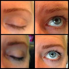 Eye lash tint before and after.