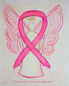 Breast Cancer Pink Awareness Ribbon Angel Art Painting