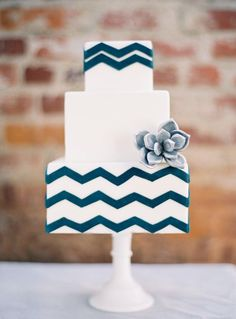 Blue and White Chevron Wedding Cake /// Photo Sweet & Saucy Shop,  via Project Wedding