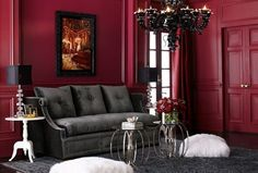 Palmer Design Group Love the burgundy colored walls!