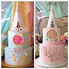 Blue & Pink Boho Dreamcatcher Cakes with Tee Pee Toppers (Coco)