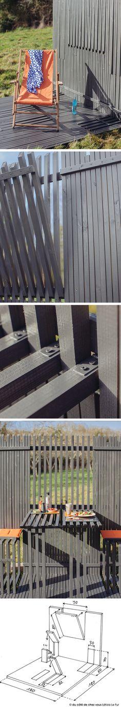 Miniterrasse pop-up !  Au gré des envies, cet espace offre un coin repas avec table et assises escamotables, ou un coin bain de soleil à l'abri des regards. 1/Tracez les repères sur les panneaux  2/Comblez la structure à claire-voie  3/Préparez les éléments escamotables 4/Intégrez la table et les piétements  5/Intégrez les assises 6/ Réalisez l'assemblage 7/Mettez en lasure 8/ Placez votre espace pop-up !  #dccv #ducotedechezvous #diy #terrasse #popup #outside