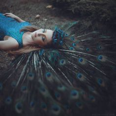 The peacock feather colour Anita Anti, a Ukrainian photographer based in New York, takes beautiful portraits of women and animals in forests that seem to pulsate with magical energy and melancholy Fantasy Photography, Conceptual Photography, Photography Women, Creative Photography, Portrait Photography, Foto Portrait, Beautiful Fairies, Portraits, Ukraine