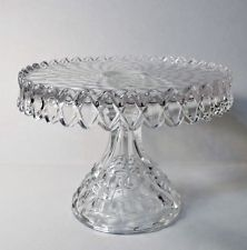 VINTAGE FOSTORIA AMERICAN FOOTED CAKE PLATE STAND SALVER w RUM WELL PEDESTAL  sc 1 st  Pinterest & antique vintage pressed glass cake stands large \u0026 small plates w ...
