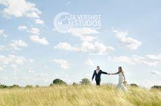 Wedding portrait couple bride groom blue sky clouds tall grass field