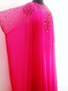 floor length hot pink chiffon coat