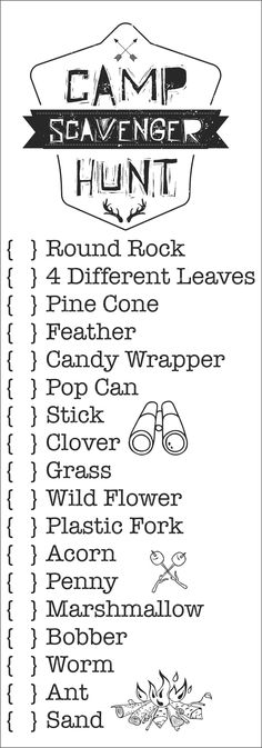 Scavenger Hunt Bags Printable Camp Scavenger Hunt Bags, perfect for a camping trip or day camp.Printable Camp Scavenger Hunt Bags, perfect for a camping trip or day camp. Camping Ideas For Couples, Camping Hacks With Kids, Camping Bedarf, Camping Parties, Camping Snacks, Camping Activities, Camping Survival, Outdoor Camping, Camping Ideas Games