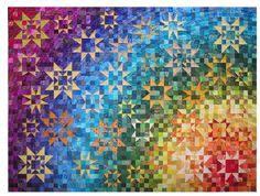 Met behulp van dit patroon en het boek Kleurgebruik in quilts van Joen Wolfrom, kunt u deze quilt maken. Voor liefhebbers van kleur. Afmeting: 156 x 216 cm / 60x83 Techniek: patchwork. Kleur nr. 1 is het geel uit het boek van Joen Wolfrom.