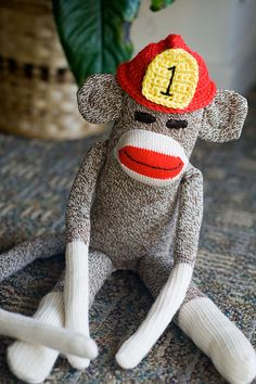 travis would LOVE this firefighter sock monkey