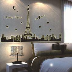 wall sticker adesivo de parede paris wallpaper vintage home decor paris eiffel tower world wall art sticker transfers