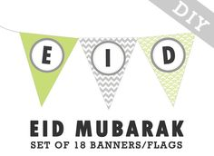 Printable EID MUBARAK pennant banner flag  custom by inmystudioo