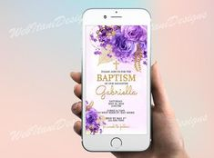 Baptism Electronic Invitation, Floral Shabby Chic Purple Rose, Lilac, Lavender, gold Christening Dedication invite for Whatsapp Electronic Invitations, Digital Invitations, Purple Lilac, Purple Roses, Christening Invitations, Birthday Invitations, Navy Flowers, Baby Blessing, 1st Birthdays