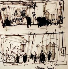 #draweveryday #everyday #composition studies of #milleniumsquare #bristol #pen on #paper #urbansketch #flow #energy #movement #city #urban