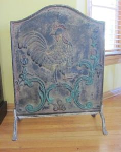 Antique Cast Iron Fireback Plate With Cockerel   PICK UP ONLY