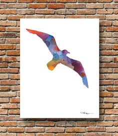 Seagull Art Print - Abstract Watercolor Painting - Wall Decor