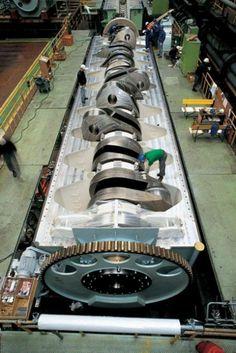 Assembling a ship's engine