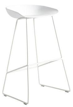 Tabouret de bar About a stool / H 75 cm - Piètement luge acier Blanc - Hay