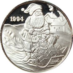 Great Deals On 1994 Christmas Santa Sleigh 1 oz Silver Art Round 999 Pure At Gainesville Coins. Securely Buy Gold And Silver Online. Gold And Silver Coins, Santa Sleigh, Silver Rounds, 1 Oz, Holiday Gifts, Pure Products, Personalized Items, Christmas, Art