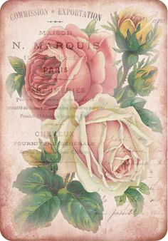 Vintage-themed collage tag, with roses and French ephemera, *free printable*