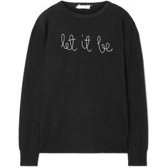 Lingua Franca Let It Be embroidered cashmere sweater found on Polyvore featuring tops, sweaters, black, pure cashmere sweaters, embroidered top, cashmere sweater, knitwear sweater and embroidered sweater