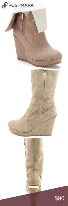 """LAST‼️ JUICY COUTURE Taupe Wedge Platform Boots 🎉HP🎉NWT JUICY COUTURE taupe fold-over platform wedge boots with a cream faux-shearling lining & a fold-over shaft, are sure to get noticed! Amazing as you can wear them completely zipped, or fold over to fit the look of any outfit! ALSO AVAILABLE IN BLACK IN SEPERATE LISTING! *Faux-shearling lined *Microsuede upper *TPR outsole *Gold tone hardware & """"COUTURE"""" plate on heel *Round toe *Zipper closure *Padded footbed *4-in. heel *1-in…"""