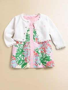 Lilly Pulitzer Kids Infant's Rory Scalloped Cardigan w/ shift dress and bloomers set