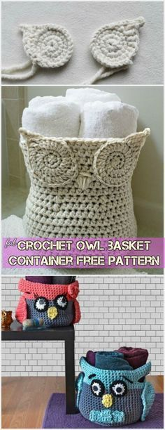 Crochet owl basket container free pattern #crochet