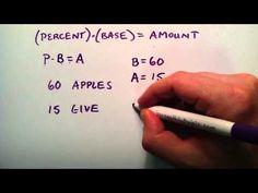 Basic Percentage Equations , Part 1 , Intermediate Algebra , Lesson 33