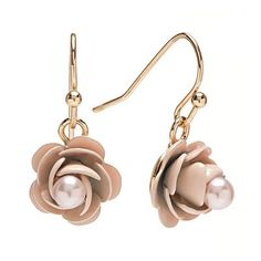 Lauren Conrad Gold Tone Simulated Pearl Flower Drop Earrings <3