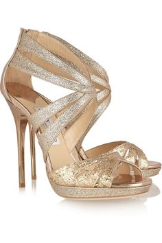 Garland glitter-finished leather sandals by Jimmy Choo