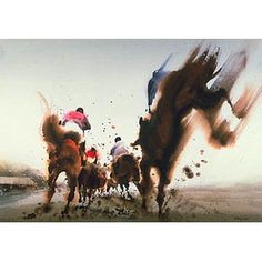 A terrific piece of art, I felt obliged to share upon finding it. Abstract Watercolor, Watercolor Horse, Watercolor Artists, Abstract Landscape, Derby Horse, Racehorse, Horse Drawings, Equine Art, Sports Art