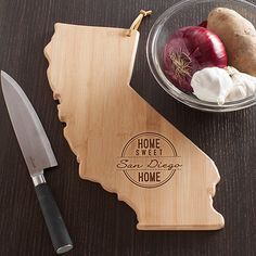 Personalized Home Sweet Home California State Cutting Board   Feel a warm welcome the moment you get home with this engraved cutting board personalized with any one line message, up to 16 characters  Please comment with personalizing information in Notes to Seller  Thanks so much