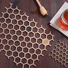 Set Of Bamboo Honeycomb Placemats
