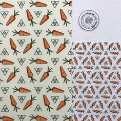 """""""Spinning Carrots and Triangles"""" is the large design that is printed on Linen Cotton Canvas Ultra. This fabric would make an excellent Gardening Hat or Tote Bag because of its weight and texture. """"Bunny's Carrots and Triangles"""" is the small design that is printed on Kona Cotton which is a lighter and softer fabric. It is also the pajama print on the Cut and Sew fabric panel, """"Bunny in Pajamas""""."""